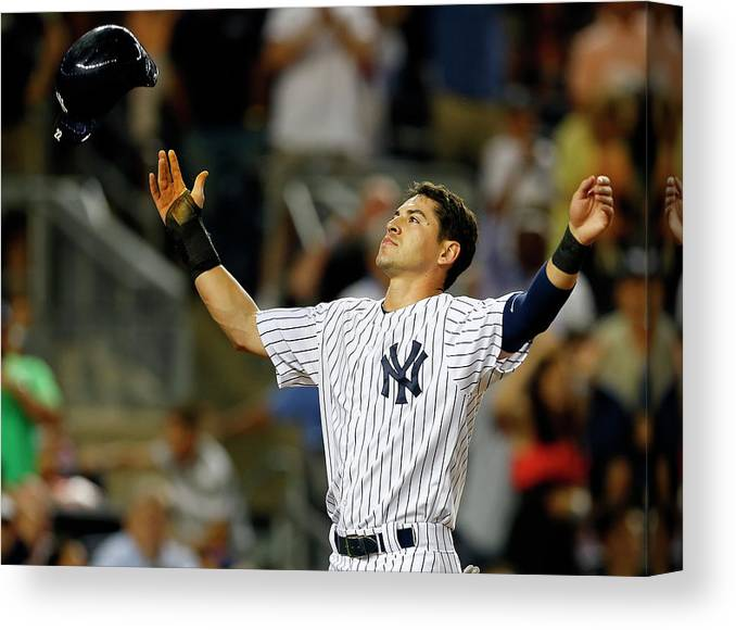 Headwear Canvas Print featuring the photograph Jacoby Ellsbury And Mark Teixeira by Rich Schultz