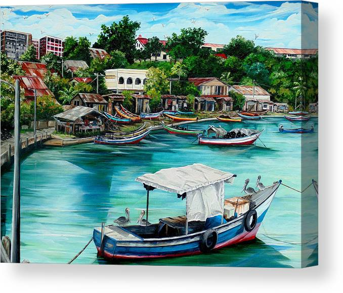 Ocean Painting Sea Scape Painting Fishing Boat Painting Fishing Village Painting Sanfernando Trinidad Painting Boats Painting Caribbean Painting Original Oil Painting Of The Main Southern Town In Trinidad  Artist Pob Canvas Print featuring the painting Sanfernando Wharf by Karin Dawn Kelshall- Best