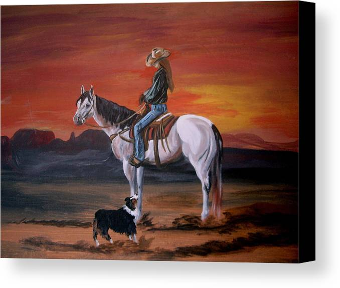 Desert Canvas Print featuring the painting Friends Sharing A Sunset by Glenda Smith