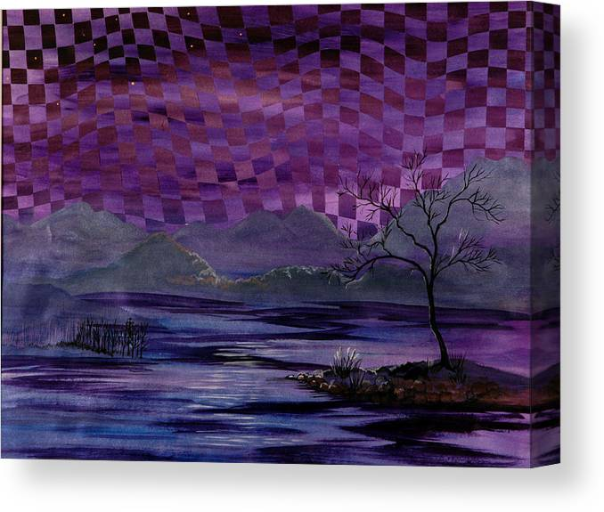 Dusk Canvas Print featuring the painting Nightscape by Linda L Doucette