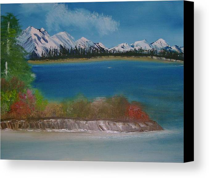 Mountains Canvas Print featuring the painting Snow Capped Mountains by Dottie Briggs