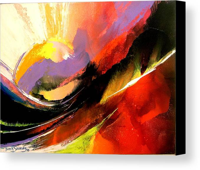 Abstract Canvas Print featuring the painting Sunset by Yvette Sikorsky