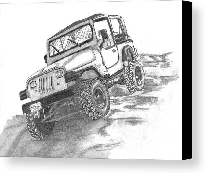 Jeep Canvas Print featuring the drawing 94 Jeep Wrangler by Crystal Suppes
