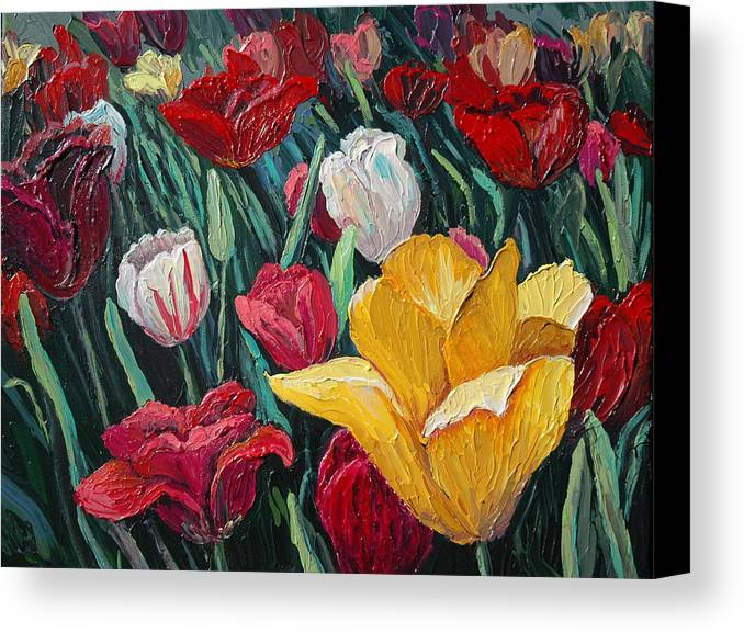 Floral Canvas Print featuring the painting Tulips by Cathy Fuchs-Holman