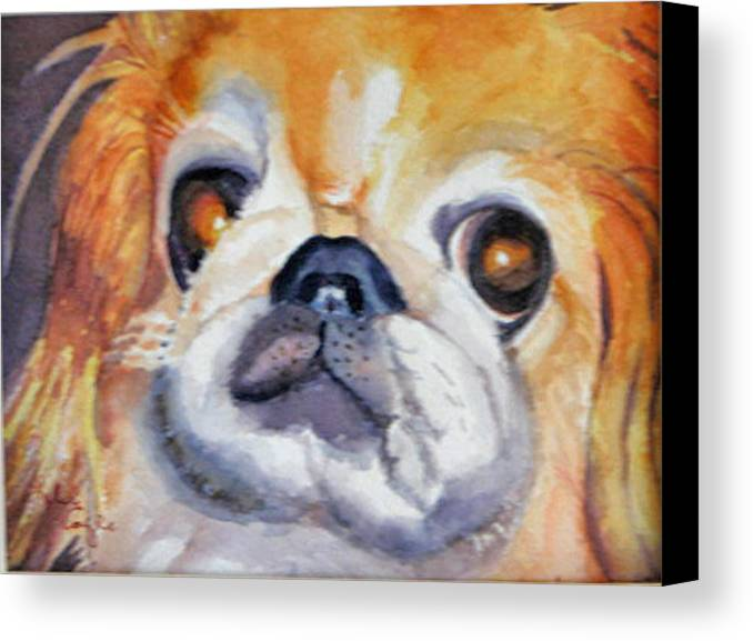 Pet Portrait Canvas Print featuring the painting Dickens by Libby Cagle