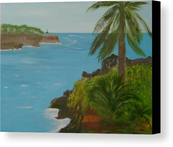 Hawaii Canvas Print featuring the painting Hawaii Cliffs by Dottie Briggs