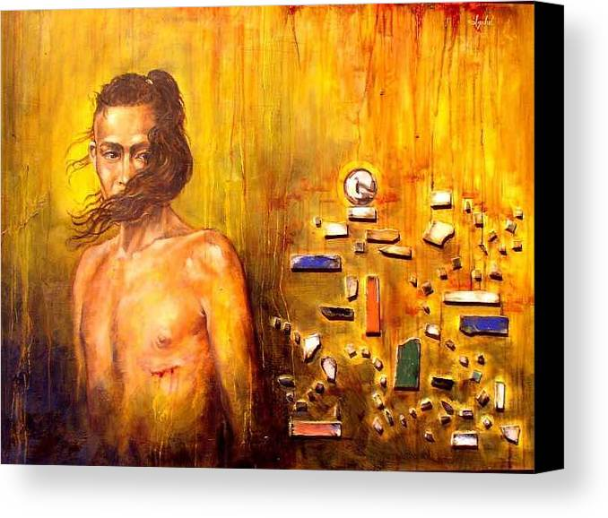 Meditation Canvas Print featuring the painting Meditation 2 by Ixchel Amor