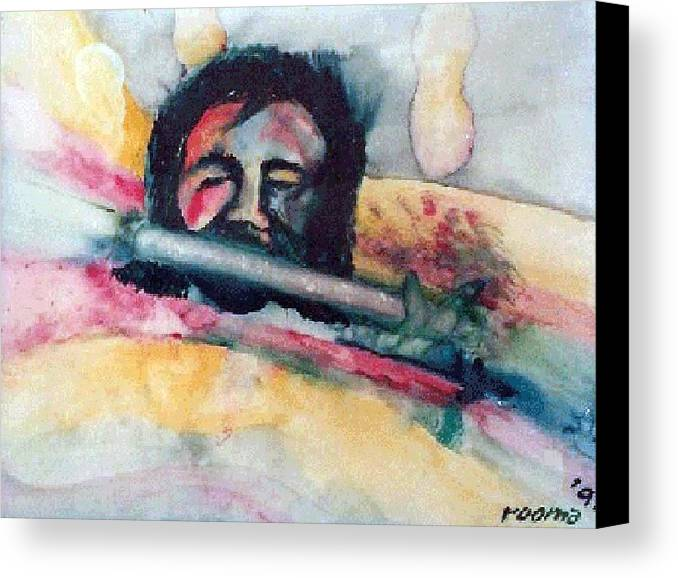 Watercolors Canvas Print featuring the painting The Flute Player by Rooma Mehra