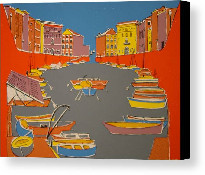 Canvas Print featuring the painting Leghorn Canal by Biagio Civale