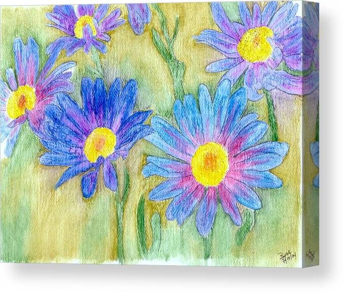 Flowers Canvas Print featuring the painting Daisey Field by Margie Byrne