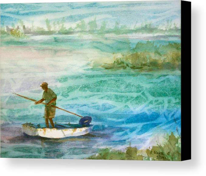 Seascape Canvas Print featuring the painting Poling The Flats by Ruth Mabee