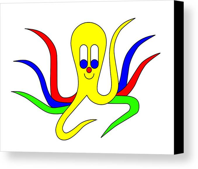 Octo-pus Canvas Print featuring the digital art Octo-pus The Cuttlefish by Asbjorn Lonvig