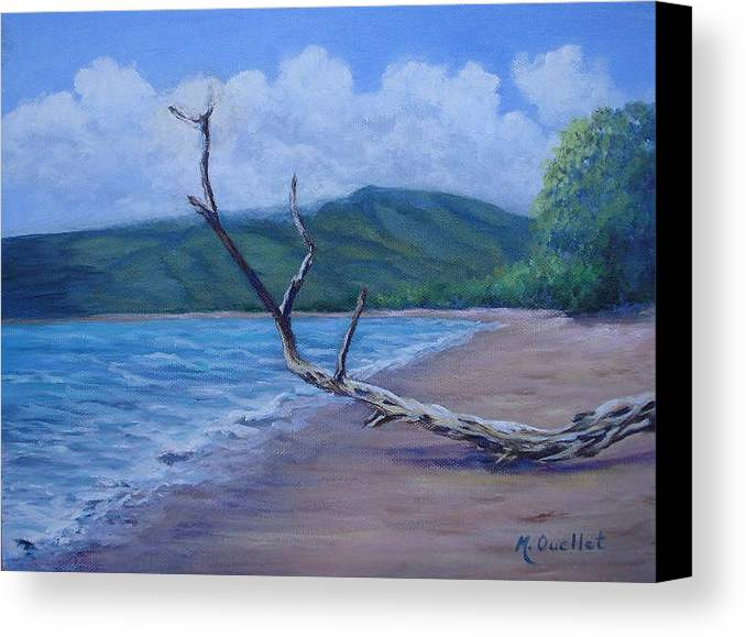Landscape Canvas Print featuring the painting Kihei Beach Tree by Maxine Ouellet