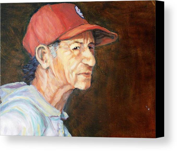 Old Man Canvas Print featuring the painting Man In Red Cap by Ruth Mabee