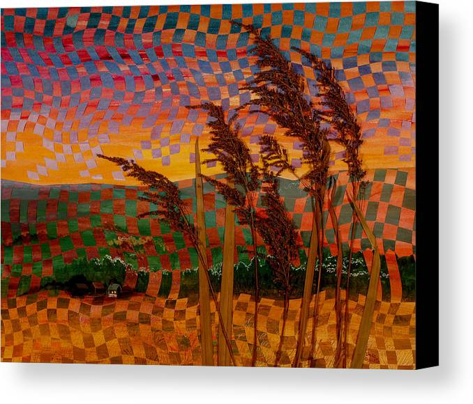 Landscape Canvas Print featuring the painting Valley Sunset by Linda L Doucette