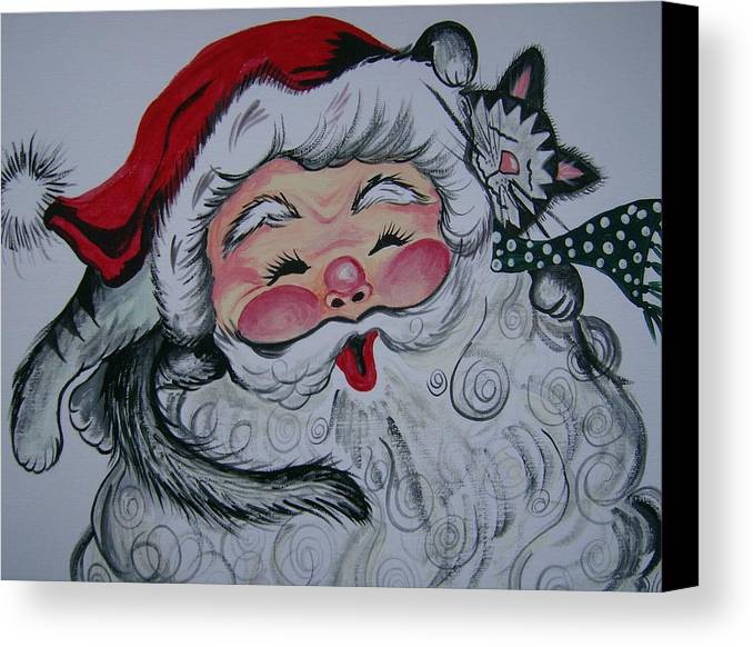 Seasons Greetings Canvas Print featuring the painting Santa And Company by Leslie Manley