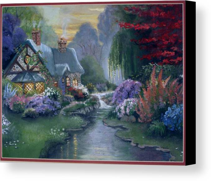 Landscape Canvas Print featuring the painting Gayles Heaven by Pamela Powers