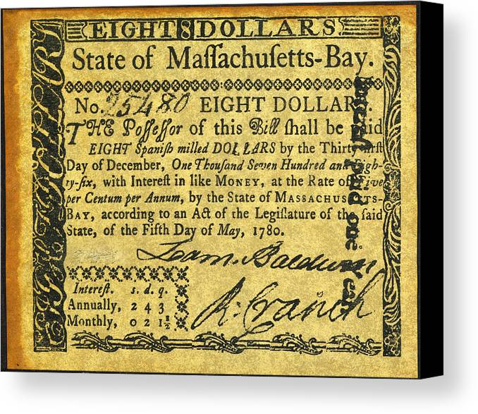1780 Canvas Print featuring the photograph Massachusetts Banknote by Granger