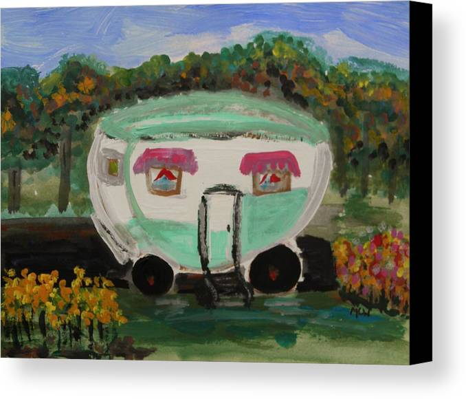 Trailer Canvas Print featuring the painting A Good Spot by Mary Carol Williams