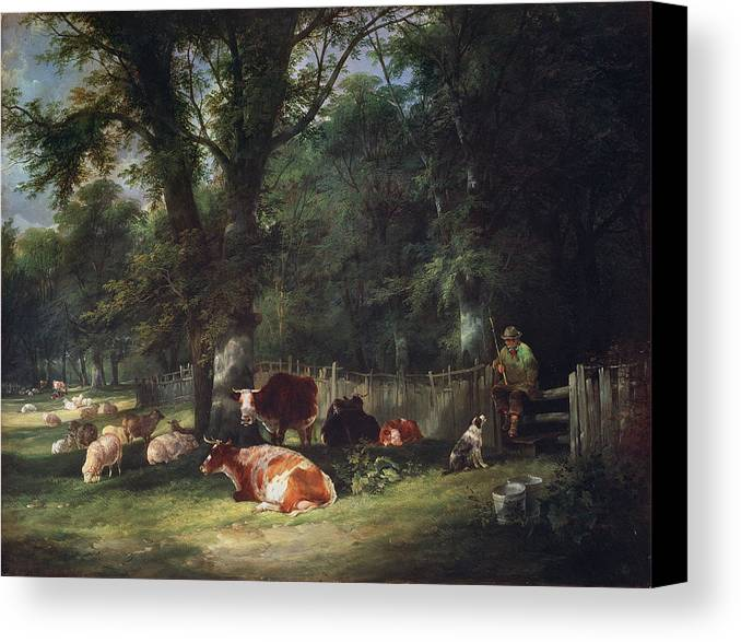 Cattle Canvas Print featuring the painting A Shady Corner by William Snr. Shayer