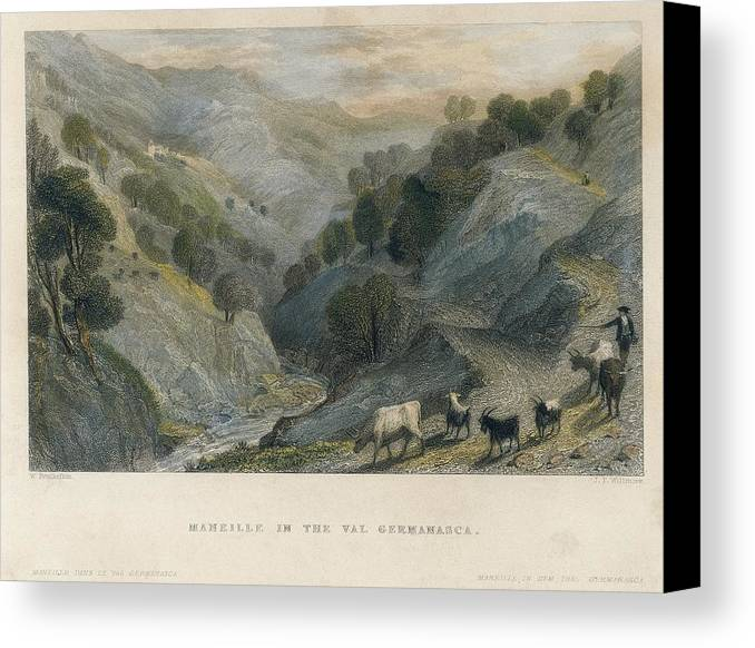 Horizontal Canvas Print featuring the photograph Alps. Shepherd In Germanasca Valley by Everett