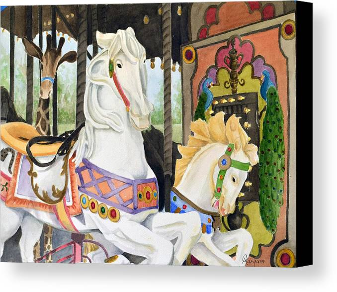 Canvas Print featuring the painting Audubon Carousel by Colleen Marquis