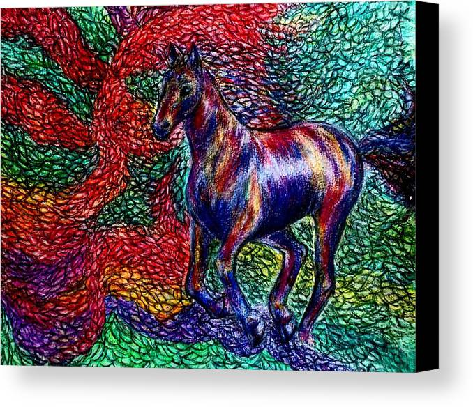 Horse Canvas Print featuring the painting Autumn Run by Elizabeth Clausen