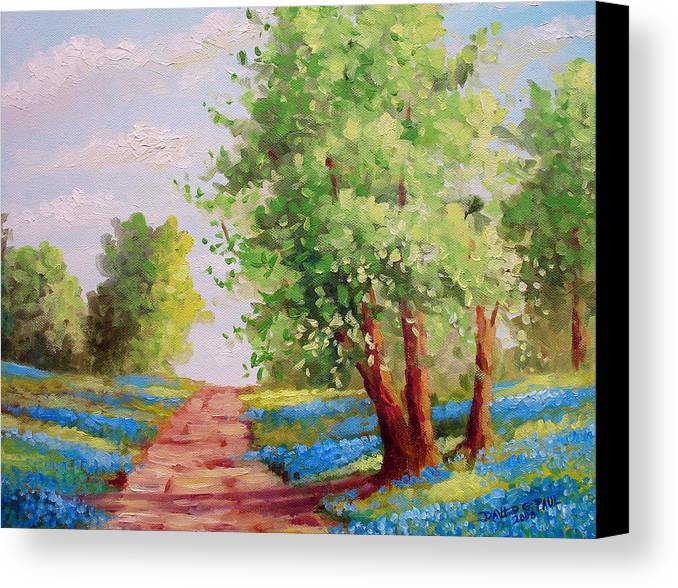 Bluebonnets Canvas Print featuring the painting Backroad Bluebonnets by David G Paul
