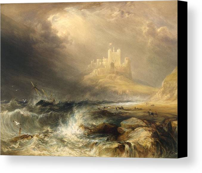 Bamborough Canvas Print featuring the painting Bamborough Castle by William Andrews Nesfield