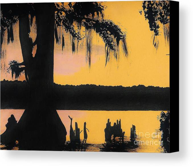 Sunset Canvas Print featuring the drawing Bayou Sunset by D Hackett