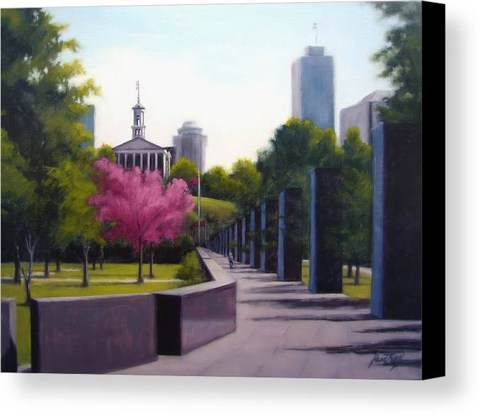 Capital Building In Nashville Tennessee Canvas Print featuring the painting Bicentennial Capital Mall Park by Janet King