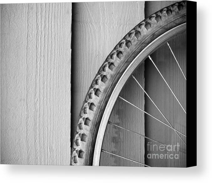 Background Canvas Print featuring the photograph Bike Wheel Black And White by Tim Hester