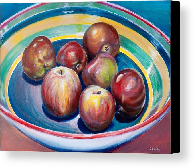 Apples Canvas Print featuring the painting Red Apples In Striped Bowl by Jennifer Lycke
