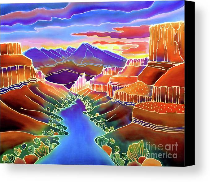 Sw Canvas Print featuring the painting Canyon Sunrise by Harriet Peck Taylor