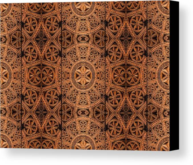 Cabinet Canvas Print featuring the photograph Carved Wooden Cabinet Symmetry by Hakon Soreide
