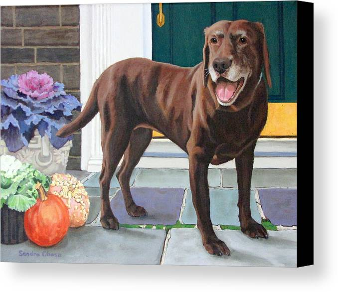 Dog Canvas Print featuring the painting Chelsea At The Door by Sandra Chase