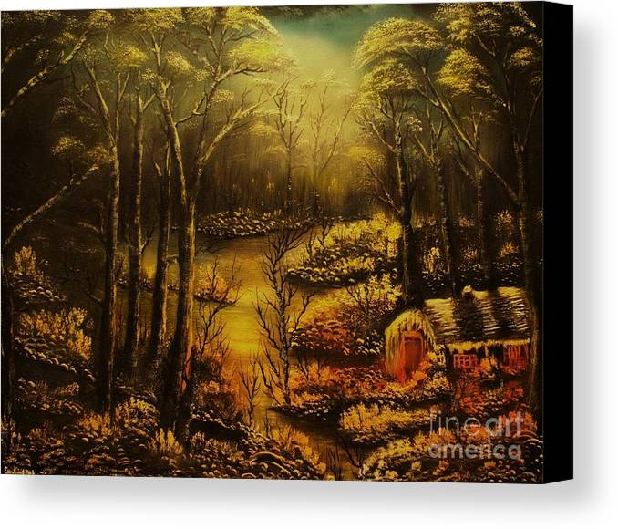Landscape Canvas Print featuring the painting Christmas Eve Mood- Original Sold-buy Giclee Print Nr 34 Of Limited Edition Of 40 Prints by Eddie Michael Beck