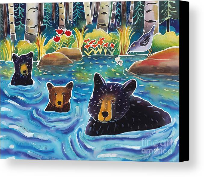 Bear Canvas Print featuring the painting Cooling Off by Harriet Peck Taylor