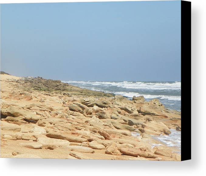 Beach Canvas Print featuring the photograph Coquina Rock On A Florida Beach by Patty Weeks