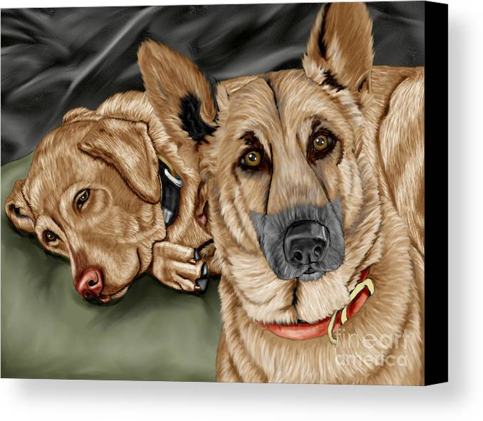 German Shepherd Canvas Print featuring the painting Dogs by Karen Sheltrown