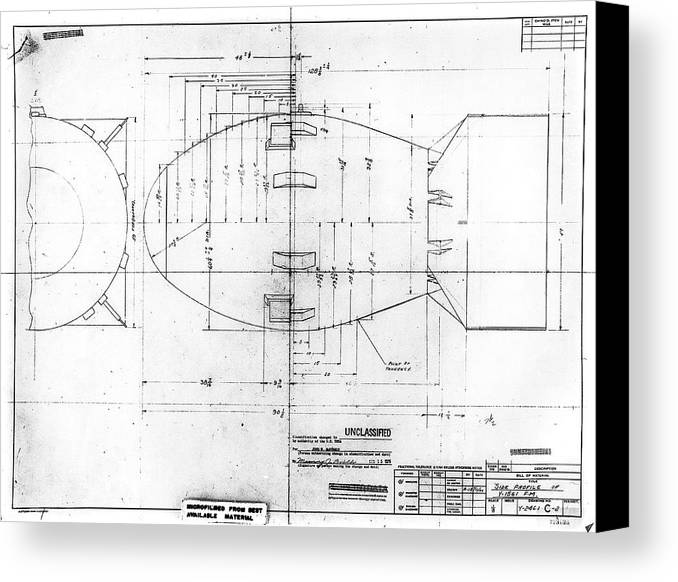 Fat man atomic bomb blueprint canvas print canvas art by los fat man canvas print featuring the photograph fat man atomic bomb blueprint by los alamos national malvernweather Gallery