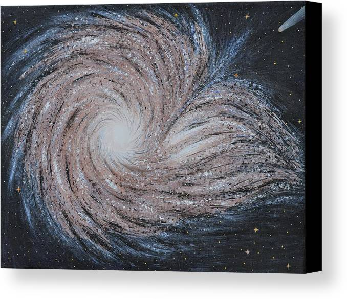Sky Canvas Print featuring the painting Galactic Amazing Dance by Georgeta Blanaru