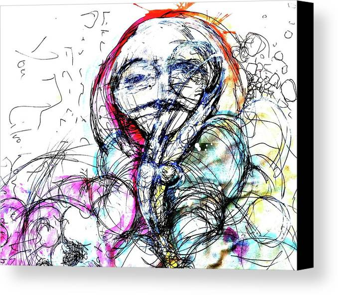 Pen And Ink Canvas Print featuring the painting Habit by Mark M Mellon