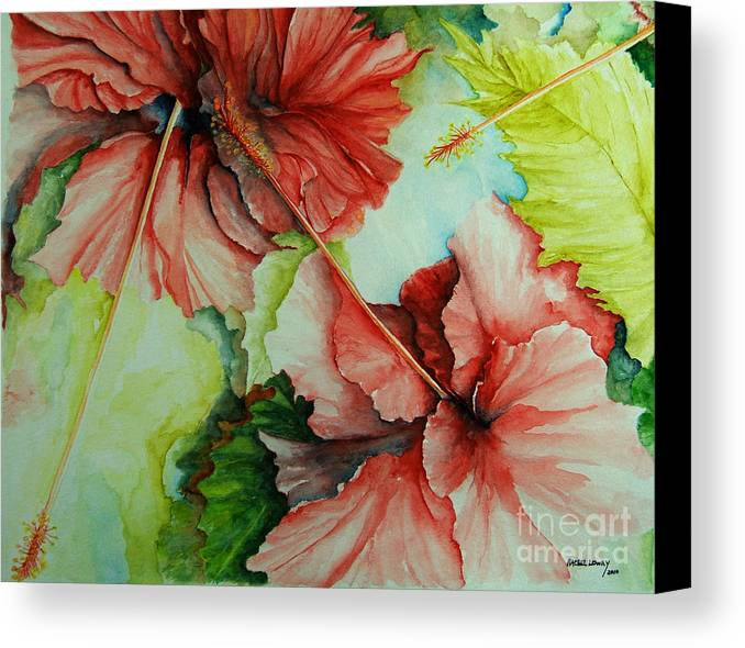 Red Canvas Print featuring the painting Hiroko's Hibiscus by Rachel Lowry