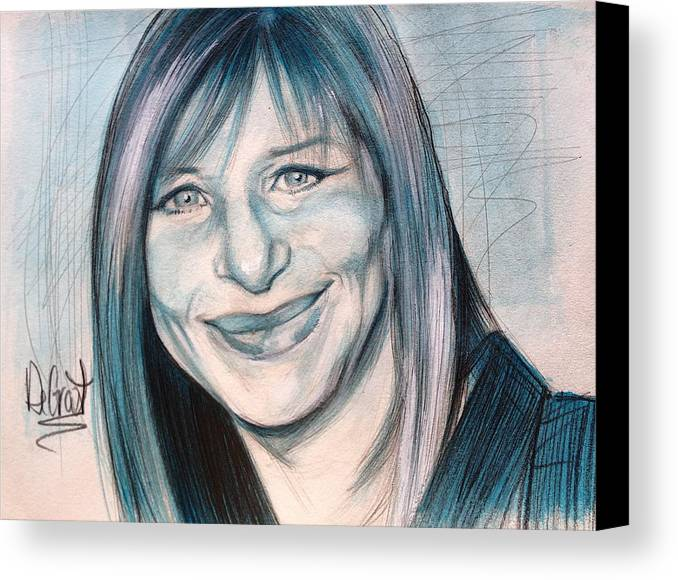 Streisand Canvas Print featuring the painting Iconic Barbra Streisand by Gregory DeGroat