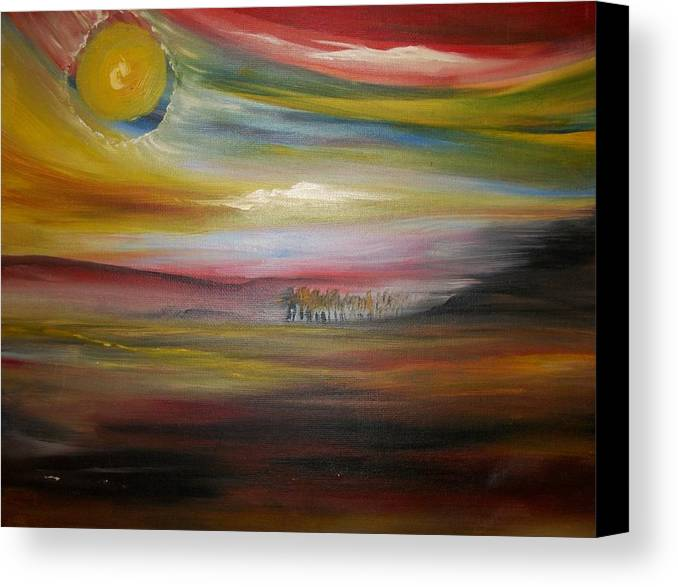 Landscape Canvas Print featuring the painting Inside The Sunset by Jake Huenink