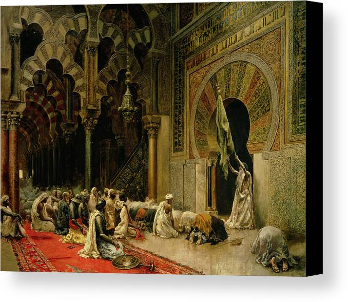 Interior Of The Mosque At Cordoba Canvas Print featuring the painting Interior Of The Mosque At Cordoba by Edwin Lord Weeks