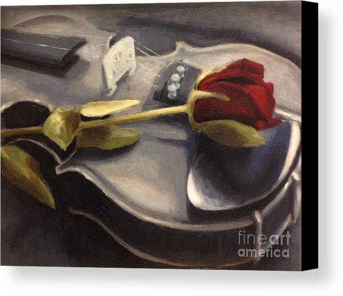Violin Canvas Print featuring the painting Interlude by Alison Schmidt Carson