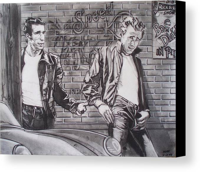 Americana Canvas Print featuring the drawing James Dean Meets The Fonz by Sean Connolly