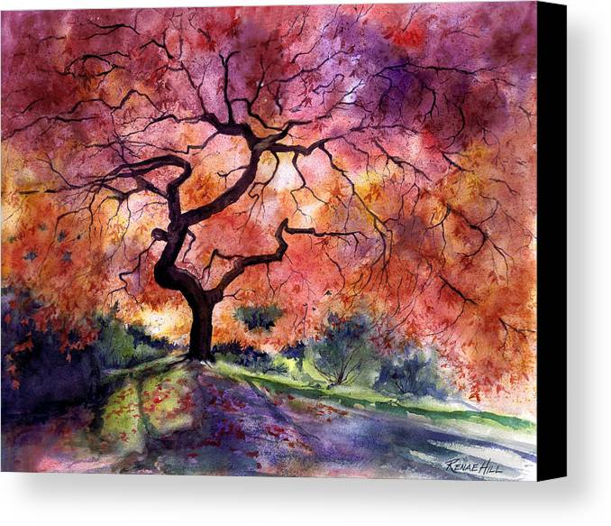 Tree Paintings Canvas Print Featuring The Painting Japanese Garden By Renae Hill